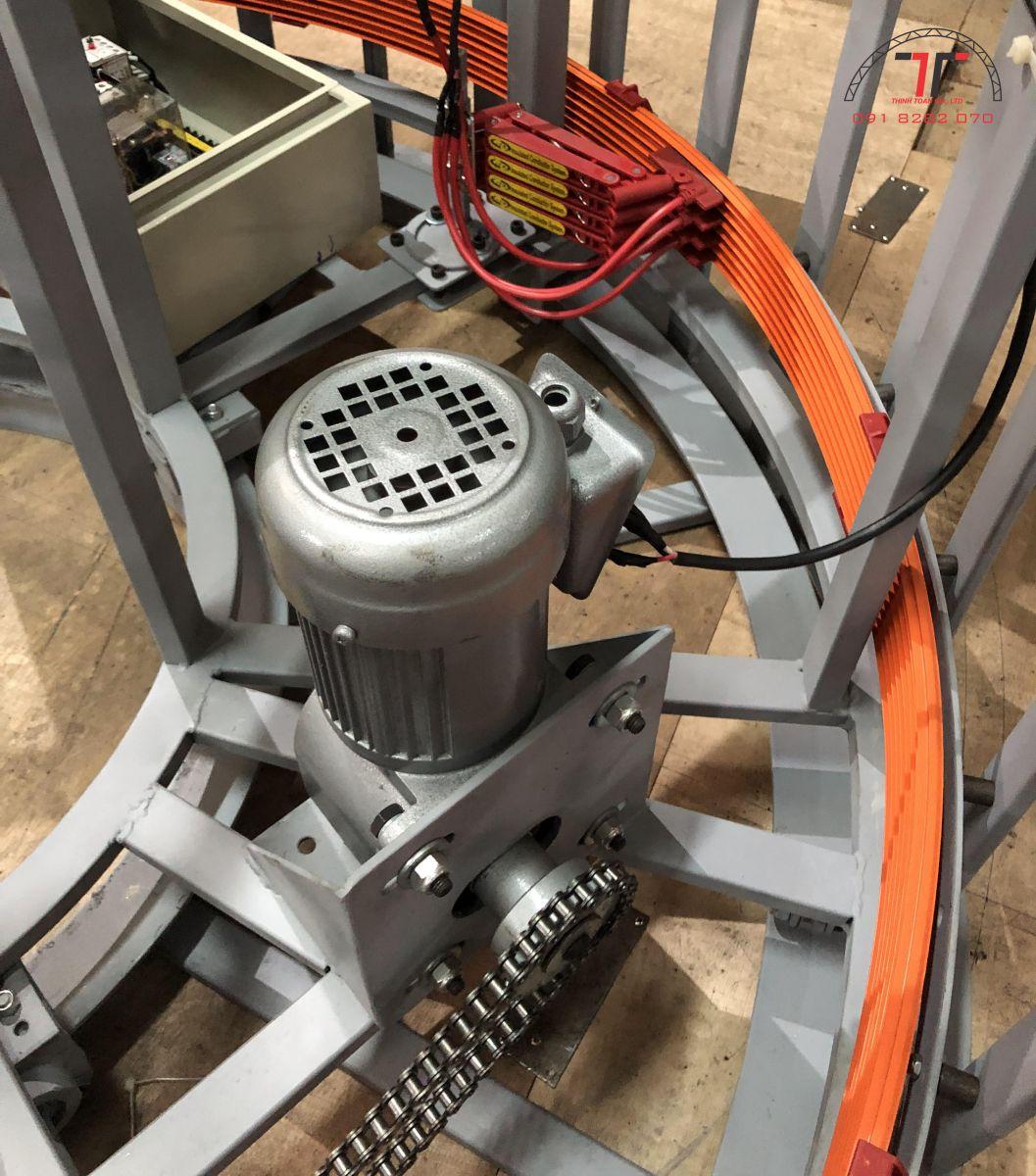 Motor được kết nối với chổi than và tủ điều khiển